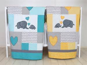 Baby Bedding Yellow Elephant Baby Quilts Elephant Crib Bedding Turquoise Blue