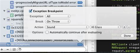 using lldb in ios objective ignore certain exceptions when using xcode s all ex