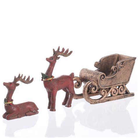 miniature reindeer  sleigh table decor christmas
