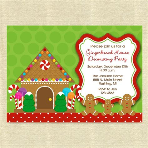 printable gingerbread house invitations gingerbread house decorating party or cookie exchange