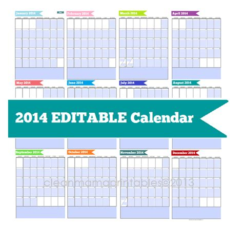 free printable editable calendars 2014 free 2014 calendar editable