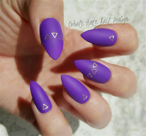 purple matte nail matte purple with gold triangles press on nails choose