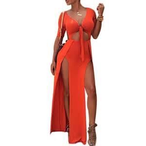 women both side cut out high split slit long maxi dress