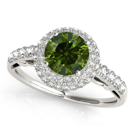 1 carat green engagement ring best price 14k white