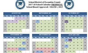 Alachua County School Calendar Okaloosa County School Calendar 2017 My