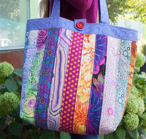 sewing pattern and fabric kits patchy bag pattern featuring kaffe fassett classic fabrics