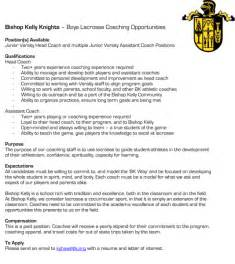 Lacrosse Fundraising Letter Bk Lacrosse Seeking New Jv Coaches Bishop Boys Lacrosse
