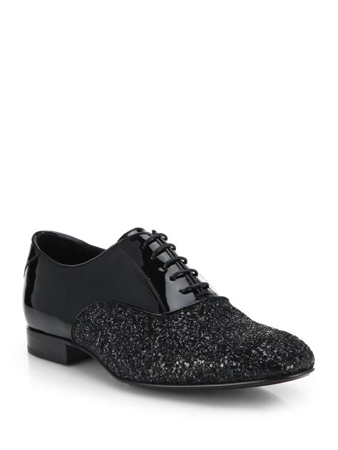 jimmy choo barker glitter patent oxford shoes in black lyst