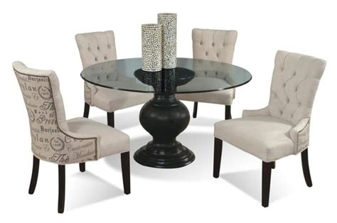 Circular Glass Dining Table And Chairs 5 Contemporary Glass Table And Upholstered Chairs Set By Cmi Wolf And Gardiner