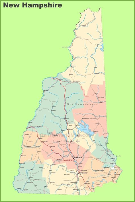 state map of map of new hshire state map of america