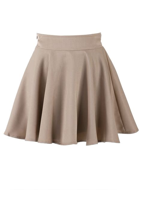 brown pencil high waist skirt khaki skater high waist