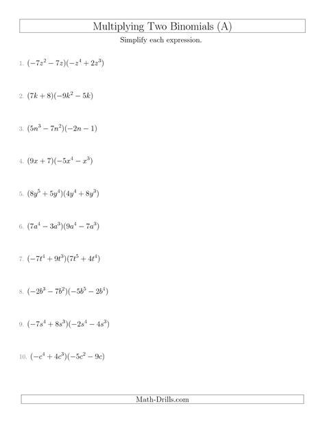Foil Method Worksheet by 11 Best Images Of Multiplying Binomials Worksheet