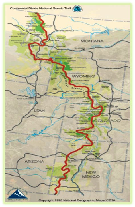 continental divide map big 3 distance hiking trails brown eyed twenty something