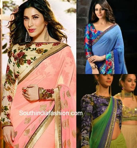 Floral Print Blouse Material For Saree by Beautiful Floral Print Blouse Designs South India Fashion