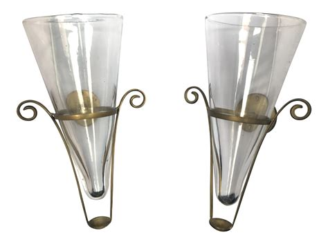 Vase Wall Sconce Blown Glass Brass Vintage Wall Vase Sconces A Pair Oregonuforeview