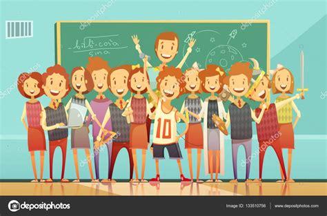 imagenes retro dibujos animados cartel de escuela tradicional educaci 243 n dibujos animados
