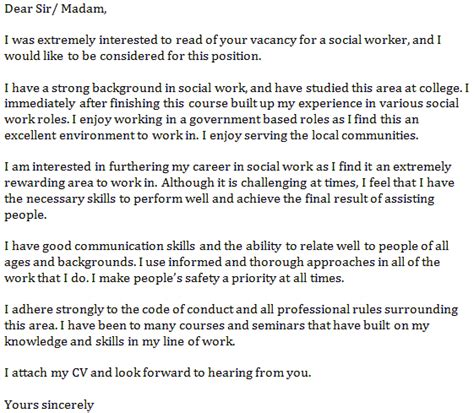 cover letter for social work social work exle resume