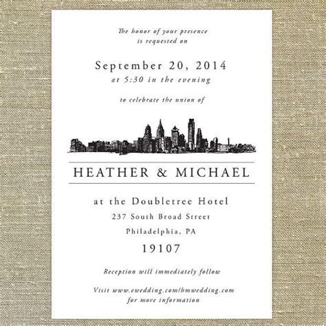 Wedding Invitations Philadelphia by Philadelphia Skyline Destination Wedding Invitation
