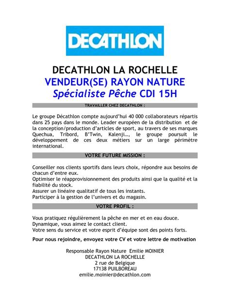 Lettre De Motivation Vendeuse Hotesse Decathlon Recrutement Decathlon Pdf Par Adelan23 Fichier Pdf
