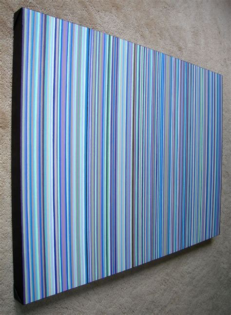 Huge Stripes Painting Purple & Green Striped Wall Art
