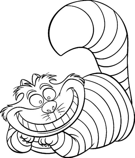 Alice In Wonderland Alice In Wonderland Character Cheshire Cat Coloring Page