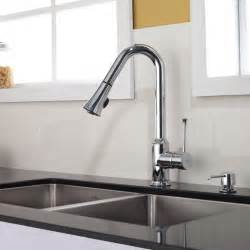 Faucets Kitchen by Kraus Single Lever Pull Out Kitchen Faucet Chrome Kpf