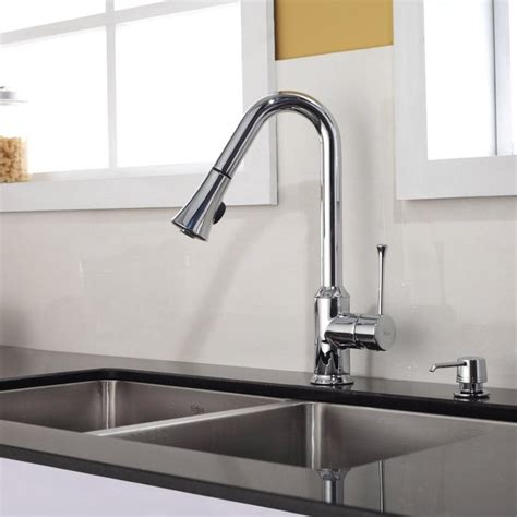 sink faucet kitchen kraus single lever pull out kitchen faucet chrome kpf