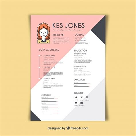 Graphic Designer Cv by Graphic Designer Resume Template Vector Free