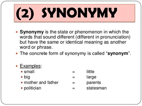 what is the meaning of template 13 semantics synonym antonym homonym hyponym