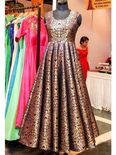 Rbl Binadia Brocade Dress Pink beautiful blue gold brocade indo western style gown