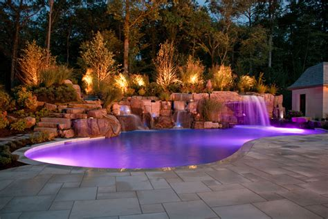 Pool Landscape Lighting with Swimming Pool Lighting Ideas Home Decorating Ideas
