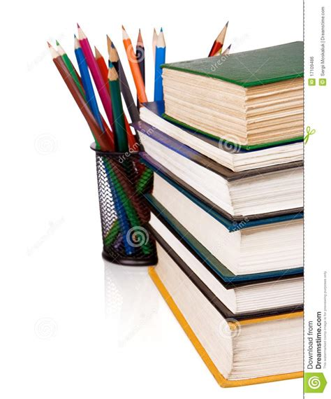 pictures of books and pencils pile of books and pencils isolated on white stock photo