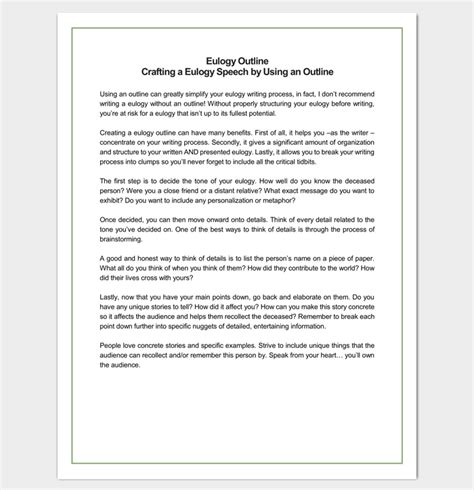 speech outline template 38 sles exles and formats