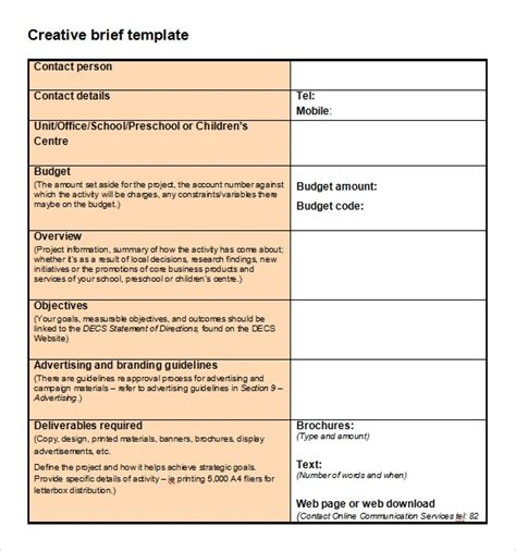 policy brief exle template sle creative brief template 9 free documents in pdf