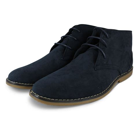 mens ankle rubber boots mens boys new suede desert casual lace up low heel rubber