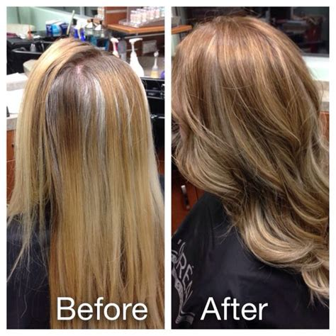 before after gray hair before and after lowlights for grey coverage and new