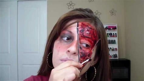 como pintar la cara para halloween maquillaje con cierre en mitad de cara para halloween