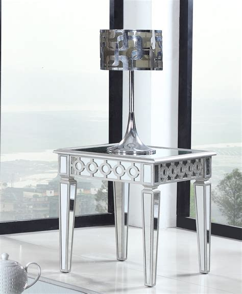 silver living room table t1840 silver mirrored living room end table