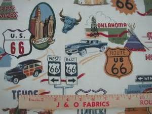 Route 66 Upholstery Fabric Route 66 Fabric White Transportation Car Airplane