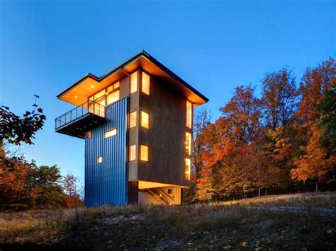 house tower design balance associates sustainable metal clad tower house overlooks michigan s glen