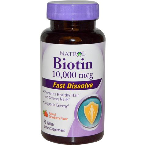 Herbal Bioin Natrol Biotin Strawberry Flavor 10 000 Mcg 60