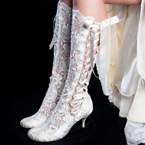 Bridal Booties by Evangeline Elliot Ivory Vintage Lace Knee High Wedding