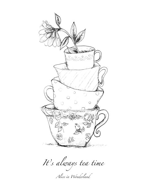 Baby Shower Places by It S Always Tea Time Alice In Wonderland A4 Illustration