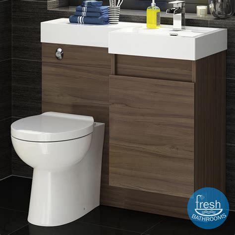 Bathroom Basin Furniture 906mm Walnut Complete Bathroom Furniture Left Toilet Basin Vanity Unit