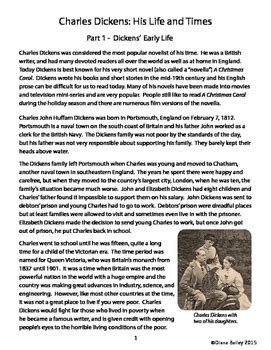 charles dickens biography lesson plan a christmas carol charles dickens biography informational