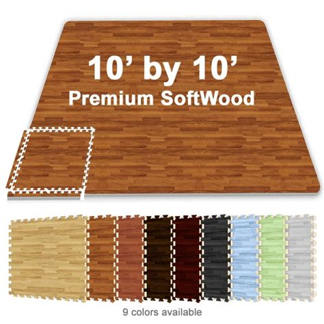 Trade Show Floor Mats by 10 Ft X 10 Ft Premium Interlocking Soft Wood Tile