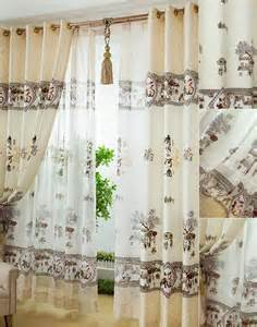 decorative style landscape pattern beige polyester living room curtains