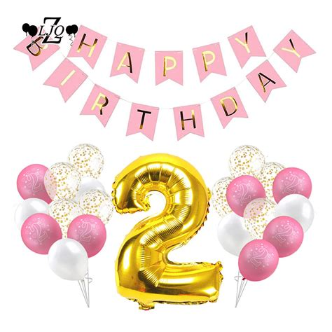 Happy Birthday Pretties 2 by Zljq 32p 2nd Birthday Decoration Kit Balloons