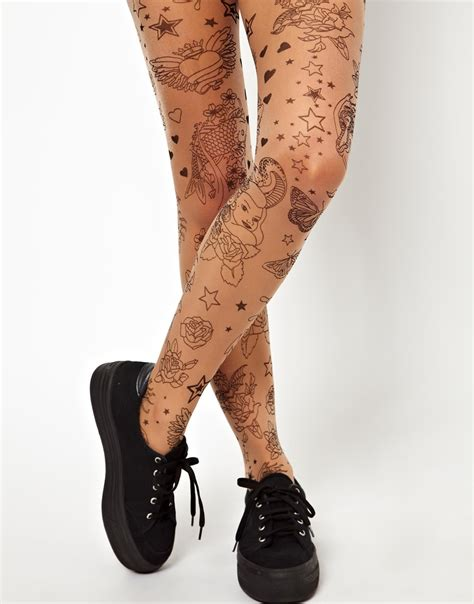 tattoo stockings lyst asos asos tights in