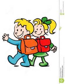 9 X 9 Rug Jongen En Meisje Die Naar Gaan Stock Afbeelding